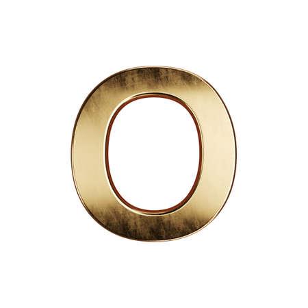 3d render of golden alphabet letter simbol - O. Isolated on white background