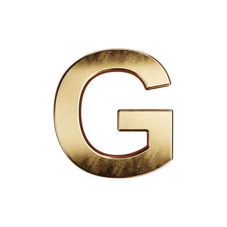 3d render of golden alphabet letter simbol - G. Isolated on white background Banco de Imagens