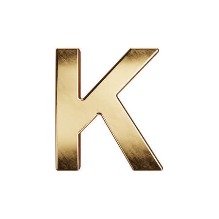 3d render of golden alphabet letter simbol - K. Isolated on white background Stock fotó