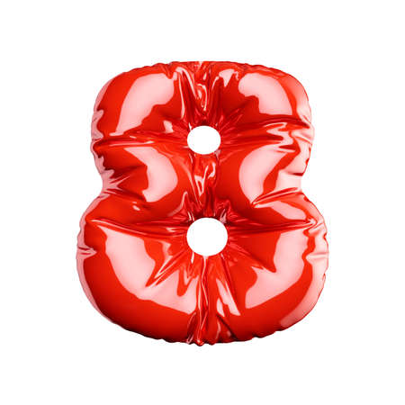 English alphabet red balloon digit font number character 8 eight on white background. Holidays and education concept. 3d rendering illustration Banco de Imagens
