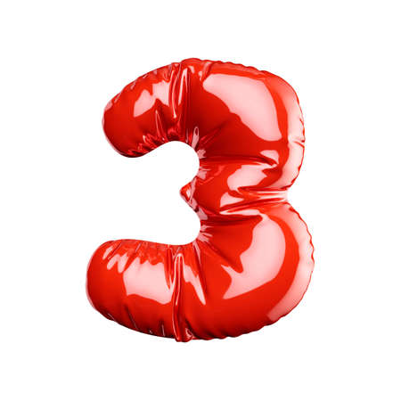 English alphabet red balloon digit font number character 3 three on white background. Holidays and education concept. 3d rendering illustration