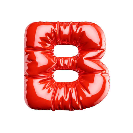 English alphabet red balloon letter font text character B on white background. Holidays and education concept. 3d rendering illustration Banco de Imagens
