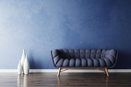 Blue sofa and white vases in new simple living room. 3d rendering illustration