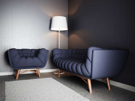 Blue chair and sofa in new simple living room. 3d rendering illustration