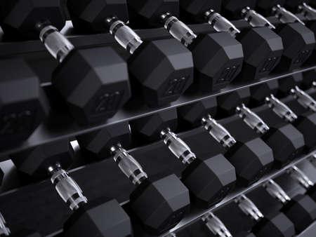 Dumbbell weight training equipment. 3d rendering illustration