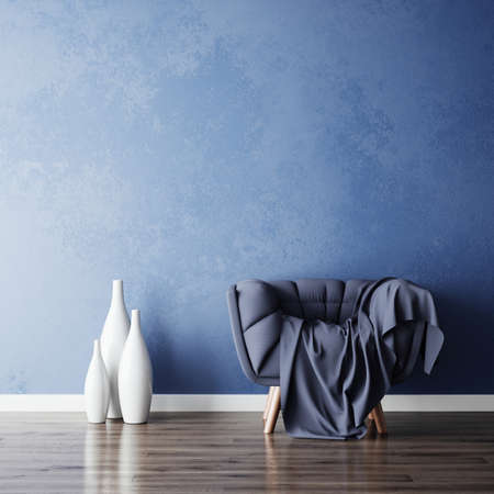 Blue chair and white vases in new simple living room. 3d rendering illustration