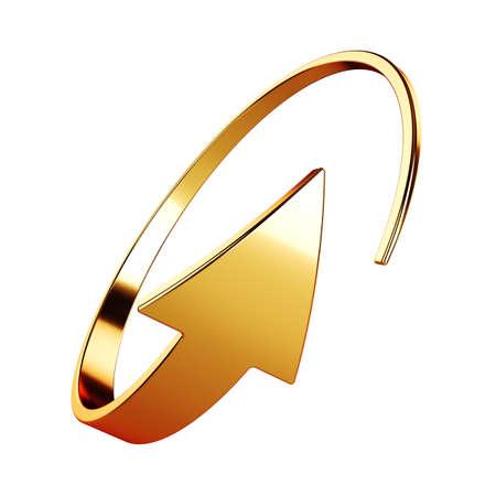 3d illustration of golden round arrow on white background Stock fotó - 133253424