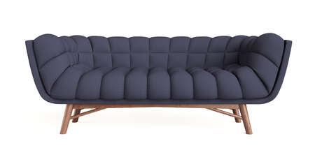 Blue sofa isolated on white background. 3d rendering illustration