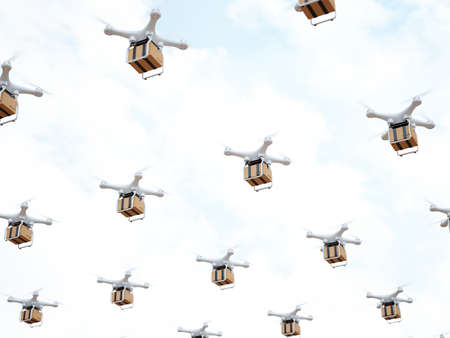 Drone quadcopter carrying mail box cargo for fast air delivery. 3d rendering illustration Stock Photo