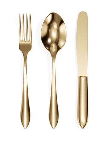 3D Render de tenedor, cuchara y cuchillo dorado aislado sobre fondo blanco.
