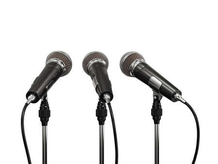 3d render of microphones isolated on white background