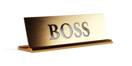 Golden nameplate with BOSS text on the white background isolated, with soft focus depth of field. 3d rendering illustration