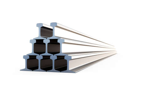 3d illustration of steel girders isolated on white background