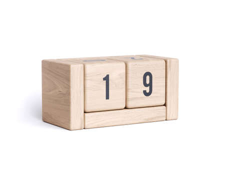 Wood block cube date day calendar. Business and holiday organizer reminder concept. 3d rendering illustration isolated on white background
