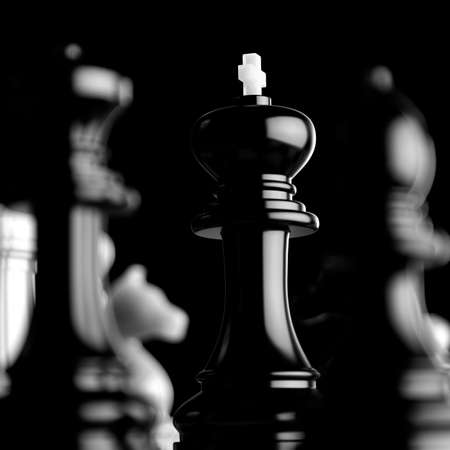 Leader and teamwork concept for success. Chess business concept. Team leader boss concept. 3d rendering illustration