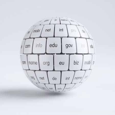3d render of global internet communication creative abstract internet PC technology and web telecommunication business computer concept. View of group white cubes in the sphere spape domain names