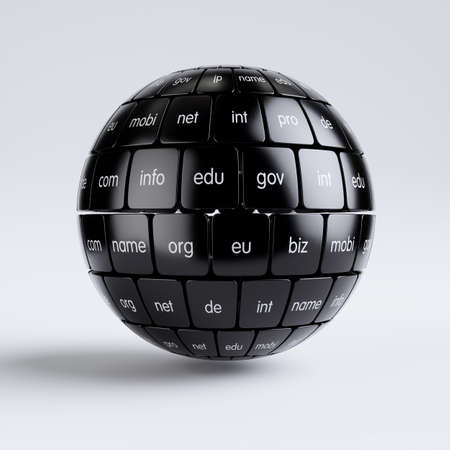 3d render of global internet communication creative abstract internet PC technology and web telecommunication business computer concept. View of group black cubes in the sphere spape domain names