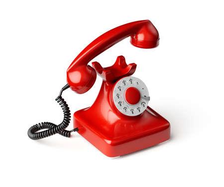 3D-Darstellung des roten altmodischen Telefons isoliert auf weißem Hintergrund Standard-Bild
