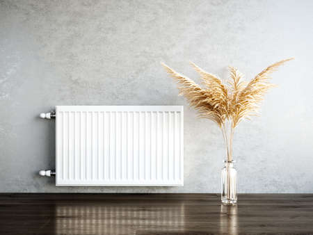 Heating metal radiator, white radiator on the wall in an apartment with the pampas. 3d rendering illustration