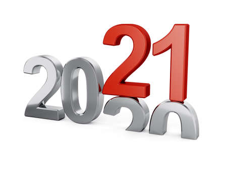 3d illustration of 2021 New Year concept isolated on white background