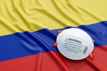 Coronavirus medical surgical face mask on the Colombian national flag. Illness, pandemic, virus covid-19 in Colombia, concept 3d rendering illustration