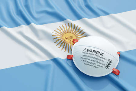 Coronavirus medical surgical face mask on the Argentinian national flag. Illness, pandemic, virus covid-19 in Argentina, concept 3d rendering illustration