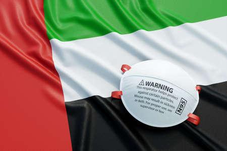 Coronavirus medical surgical face mask on the United Arab Emirates national flag. Illness, pandemic, virus covid-19 in UAE, concept 3d rendering illustration Foto de archivo