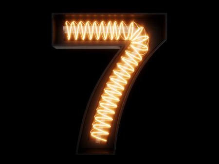 Light bulb spiral glowing digit alphabet character 7 seven font. Front view illuminated number 7 symbol on black background. 3d rendering illustration