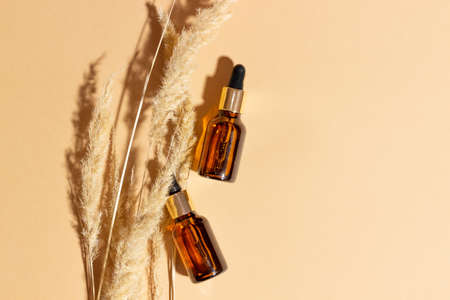 Natural cosmetics in glass bottles with a dropper on a beige background with branches. The concept of natural cosmetics, natural essential oil.