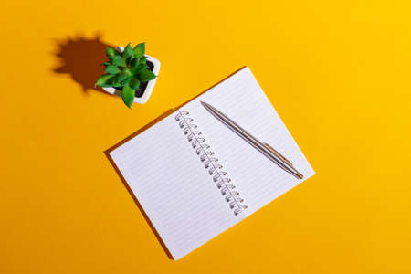 Work table with open notebook and flower on bright yellow background