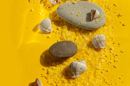Seashells and stones on a bright yellow sandy background. Summer background with bright sunlight. Travel and vacation concept