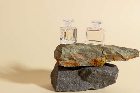 Glass perfume bottles stand on a stone. Natural perfumery. 免版税图像