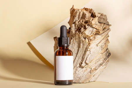 Glass cosmetic bottles with a dropper stand next to a log on a beige background with bright sunlight. The concept of natural cosmetics, natural essential oil.