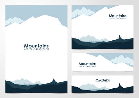 Set of blank design layout of banners and brochure with mountains landscape background.