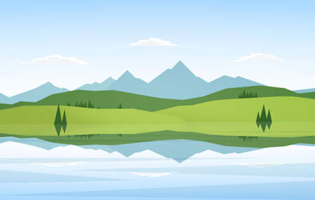 Mountains and lake landscape with pine trees and reflection. 向量圖像