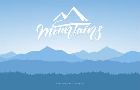 Mountains landscape background with handwritten lettering. 矢量图像