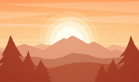 Mountain landscape with sunset, pines and hills. 向量圖像