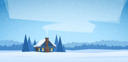Winter christmas landscape with cartoon house and smoke from the chimney.