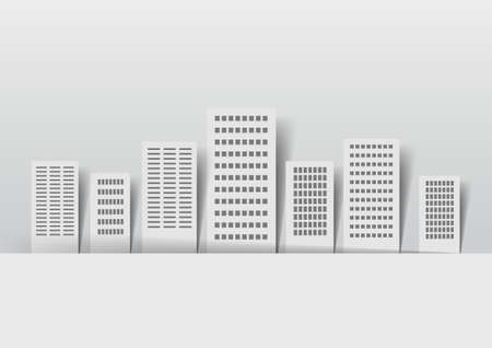 Vector Paper buildings on a light background Illustration