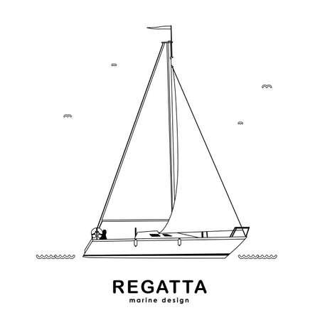 Vector illustratie: Geïsoleerd jacht op witte achtergrond. Lijn ontwerp. Vector Illustratie