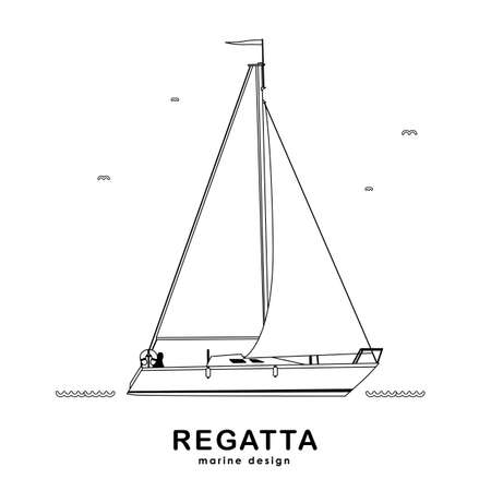 Vector illustration: Isolated yacht on white background. Line design.