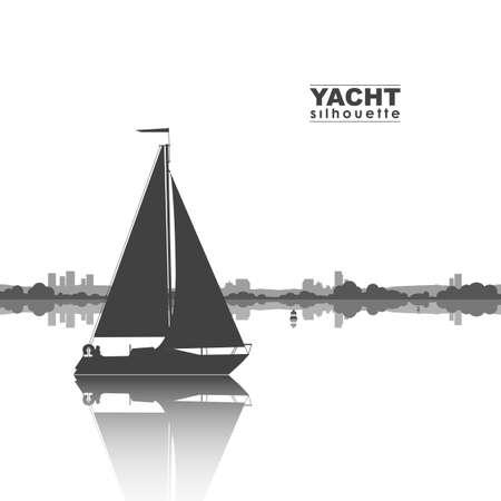 ヨットのシルエットと地平線上の都市