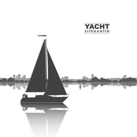 Silhouette of yacht and the city on the horizon