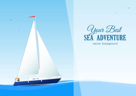 Marine background with detailed yacht and space for text