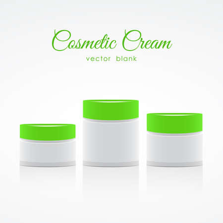 Set of Blank Cosmetic Container for Cream with with green lids.