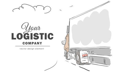 Hand-drawn delivery truck on the way with space for text