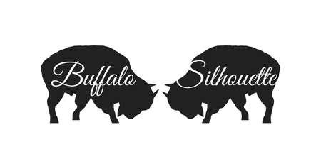 Twee silhouettenbuffels Stock Illustratie