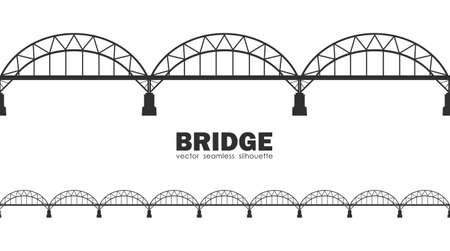 ●ベクトルイラスト:ダルニツキー橋のシームレスなシルエット。キエフ