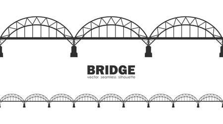 Vector illustration: Seamless silhouette of Darnitskiy Bridge. Kiev