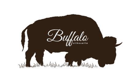 Vector illustratie: Hand getrokken Buffalo silhouet geïsoleerd op een witte achtergrond